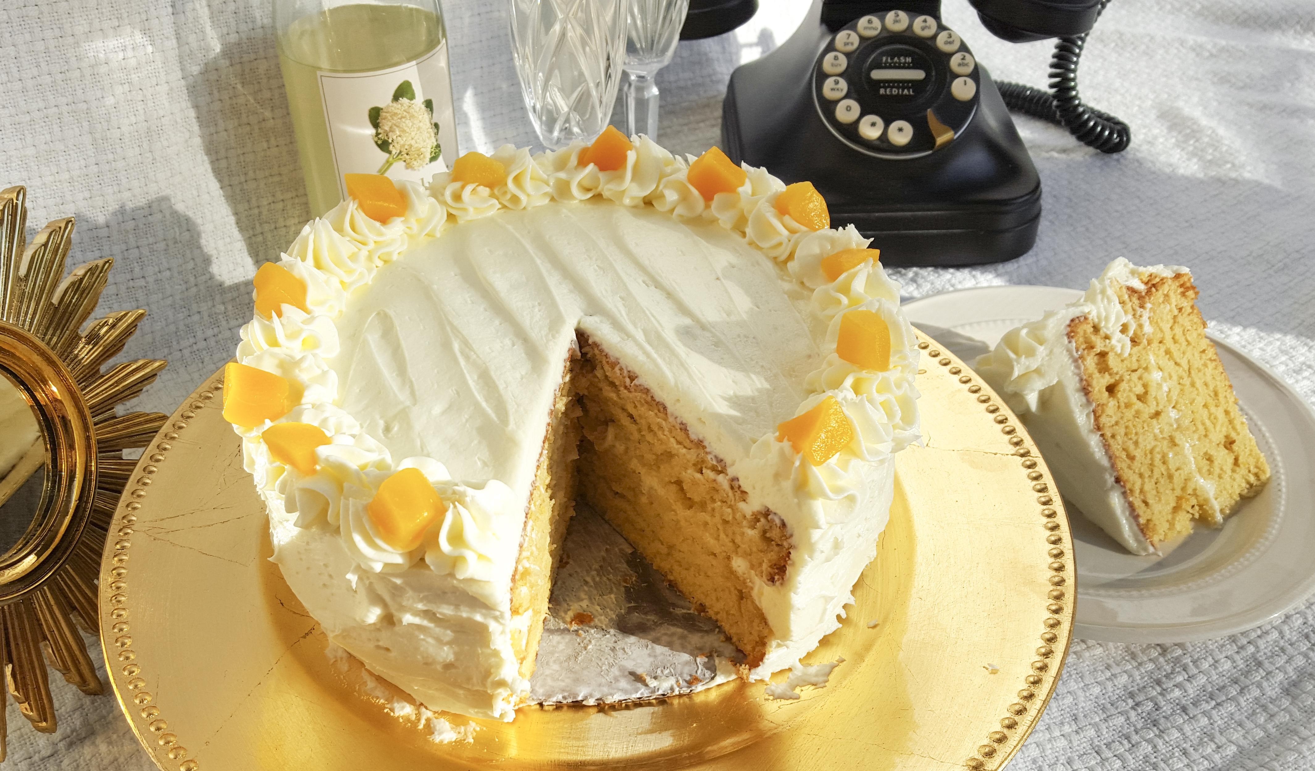 Peaches in Elderflower Cake