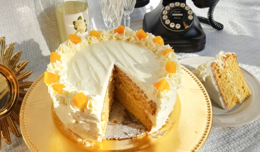 Peaches in Elderflower Cake