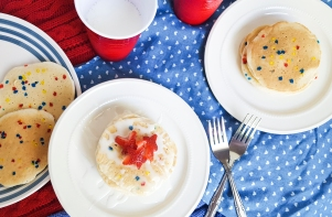 Star-Spangled Angel Food Pancakes