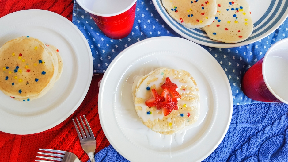 Star-Spangled Angel Food Pancakes